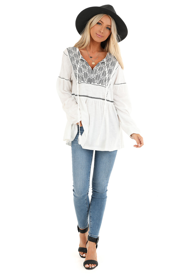 Cotton White and Ebony Embroidered Peasant Top with Tie front full body