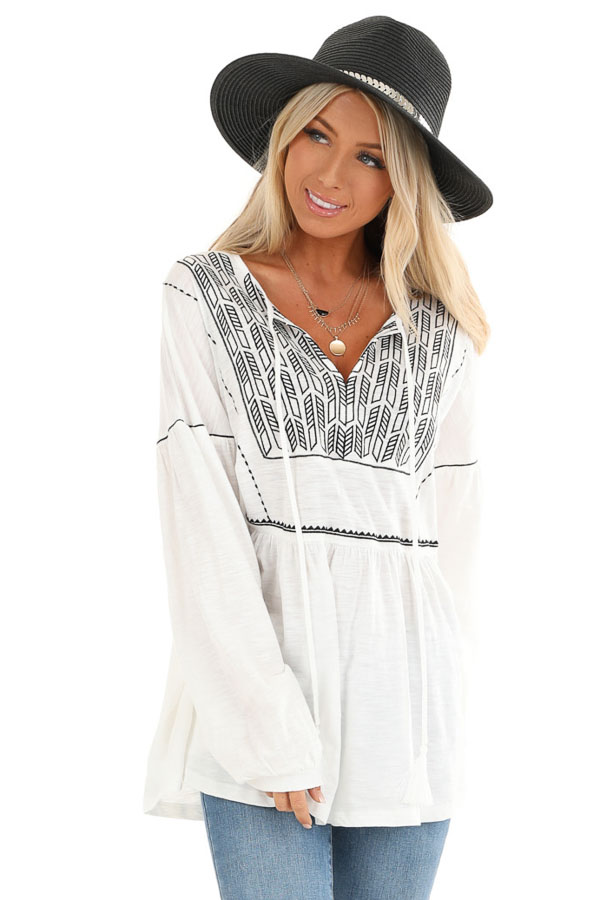 Cotton White and Ebony Embroidered Peasant Top with Tie front close up