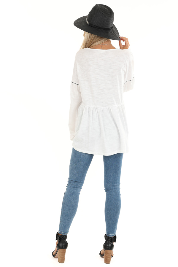 Cotton White and Ebony Embroidered Peasant Top with Tie back full body