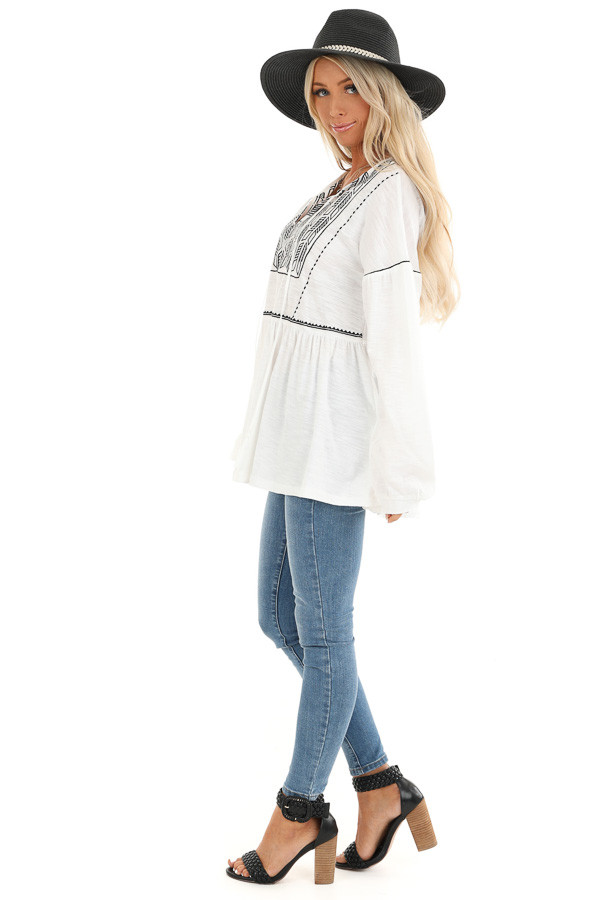 Cotton White and Ebony Embroidered Peasant Top with Tie side full body