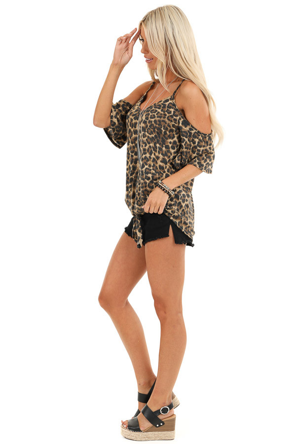 Toffee Leopard Print Cold Shoulder V Neck Top with Front Tie side full body