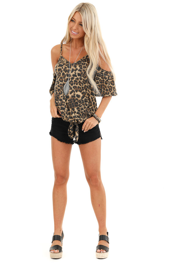 Toffee Leopard Print Cold Shoulder V Neck Top with Front Tie front full body