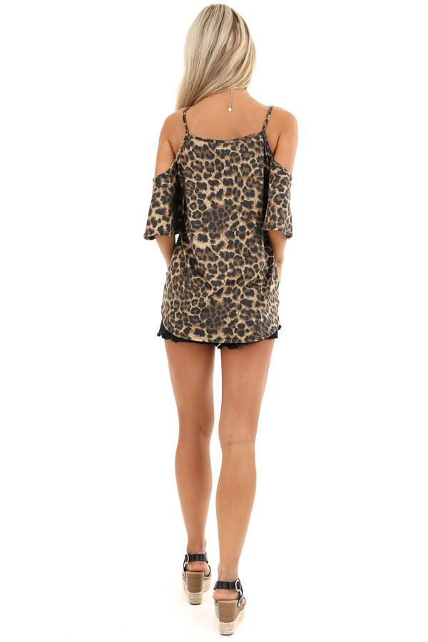 Toffee Leopard Print Cold Shoulder V Neck Top with Front Tie back full body