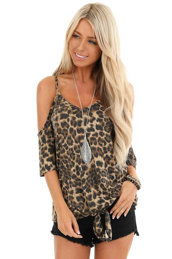 Toffee Leopard Print Cold Shoulder V Neck Top with Front Tie front close up