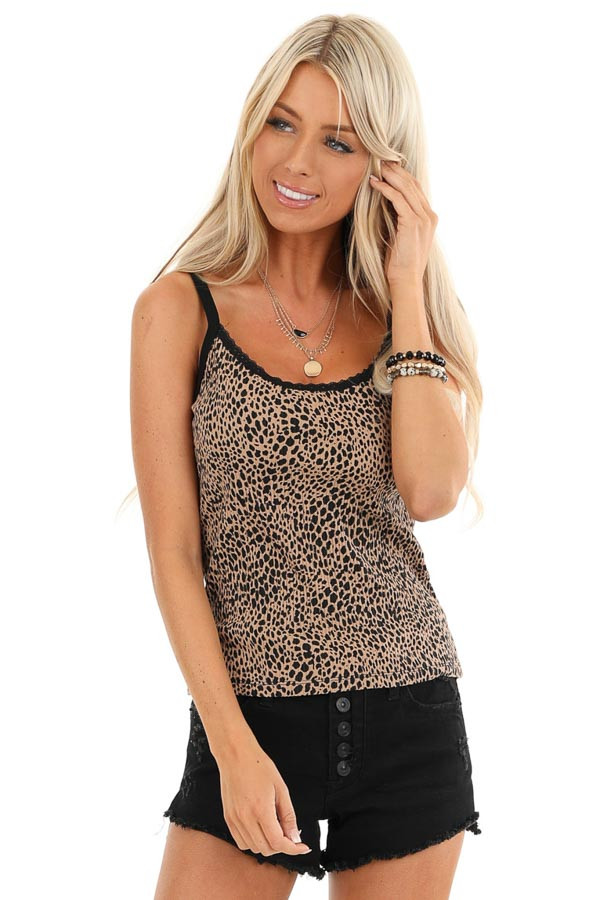 Tan and Black Animal Print Ribbed Tank with Lace Neckline front close up