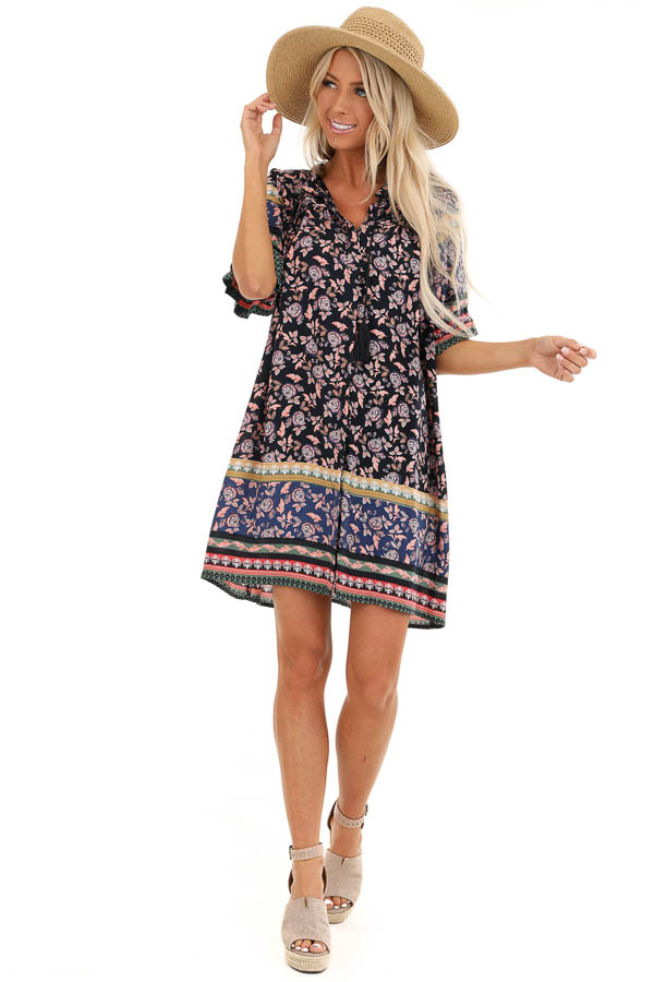 Midnight Blue Floral Print Button Up Mini Dress with Tie front full body
