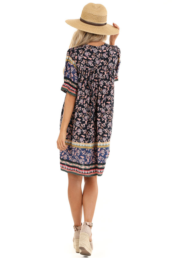 Midnight Blue Floral Print Button Up Mini Dress with Tie back full body