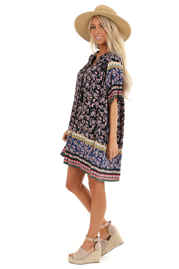 Midnight Blue Floral Print Button Up Mini Dress with Tie side full body