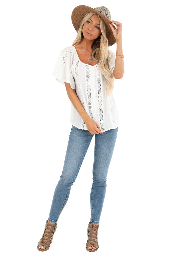Ivory Button Up Short Sleeve Top with Sheer Lace Details front full body