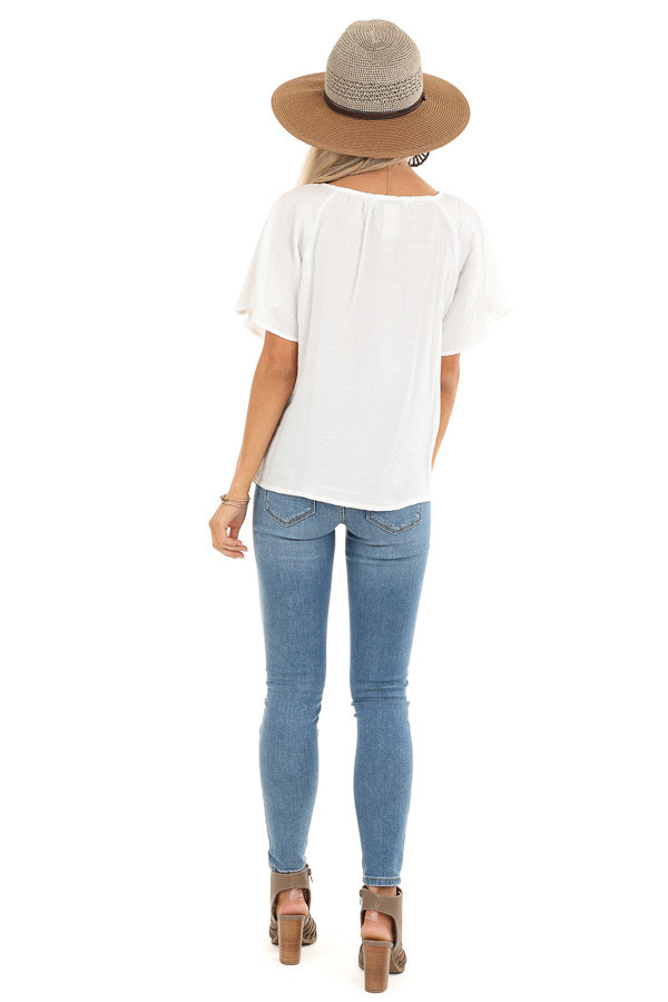 Ivory Button Up Short Sleeve Top with Sheer Lace Details back full body