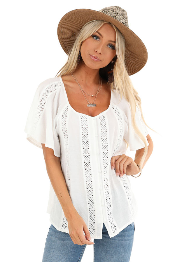 Ivory Button Up Short Sleeve Top with Sheer Lace Details front close up