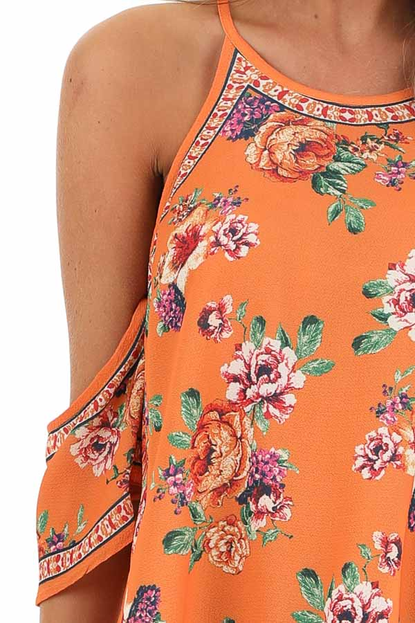 Tangerine Floral Cold Shoulder Short Sleeve Top detail