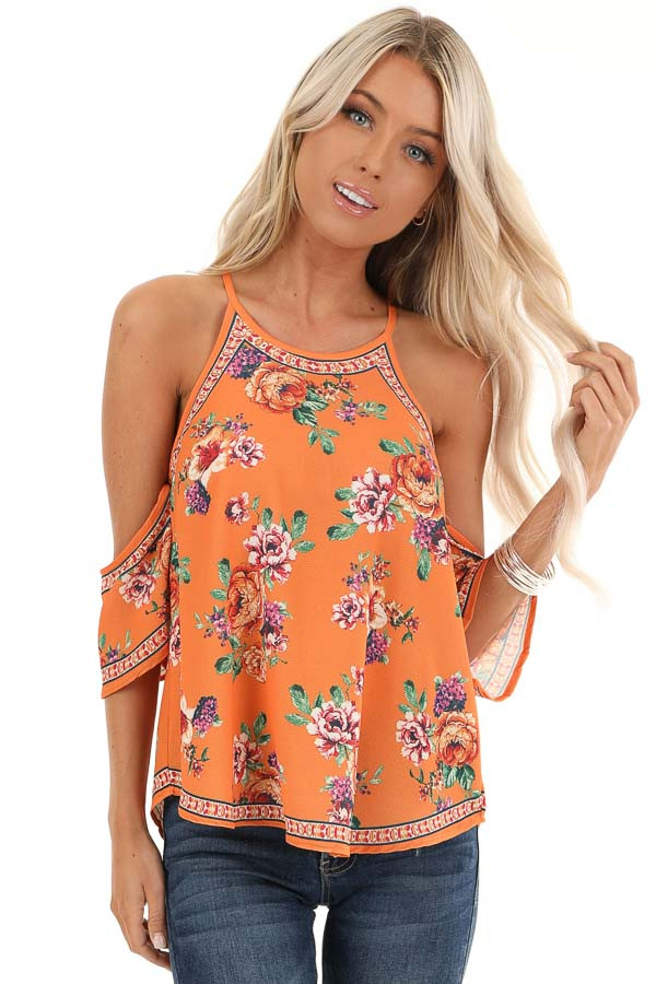 Tangerine Floral Cold Shoulder Short Sleeve Top front close up
