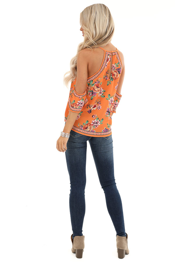 Tangerine Floral Cold Shoulder Short Sleeve Top back full body