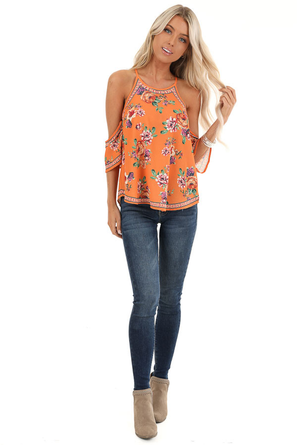 Tangerine Floral Cold Shoulder Short Sleeve Top front full body