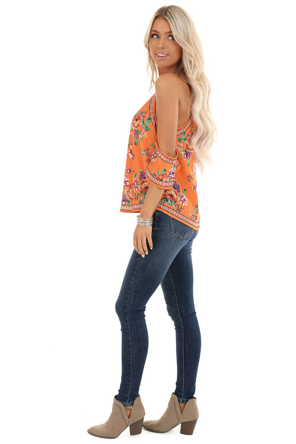 Tangerine Floral Cold Shoulder Short Sleeve Top side full body