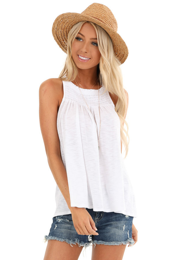 Pure White High Smocked Neck Tank Top with Back Tie Detail front close up