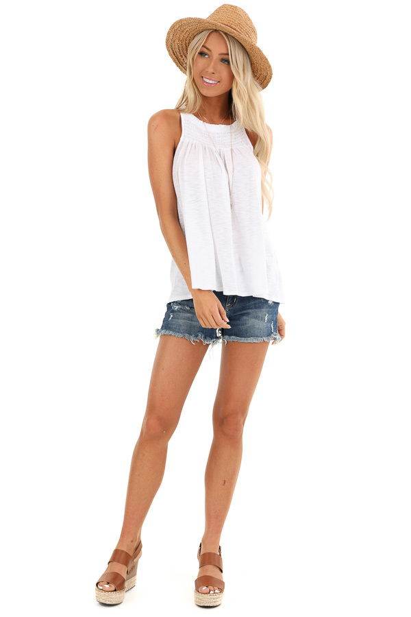 Pure White High Smocked Neck Tank Top with Back Tie Detail front full body