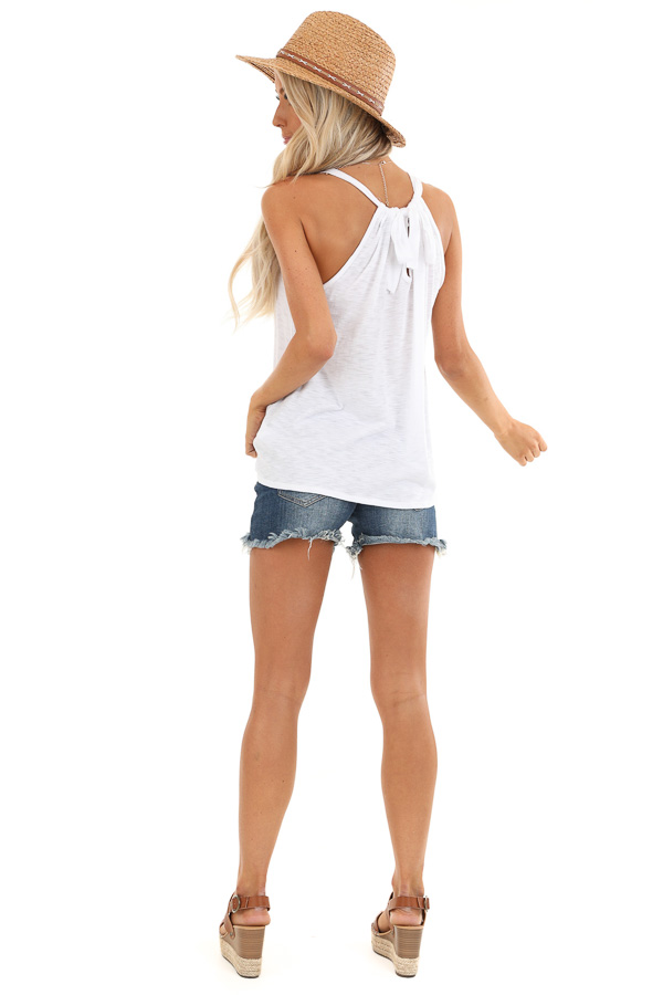Pure White High Smocked Neck Tank Top with Back Tie Detail back full body