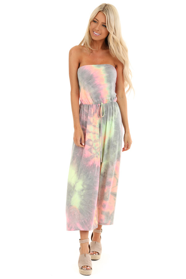 Grey and Neon Multicolor Tube Top Jumpsuit front full body