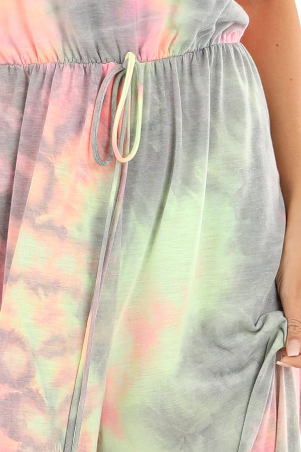 Grey and Neon Multicolor Tube Top Jumpsuit detail