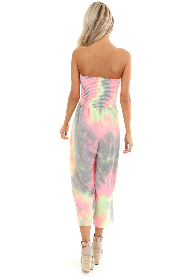 Grey and Neon Multicolor Tube Top Jumpsuit back full body
