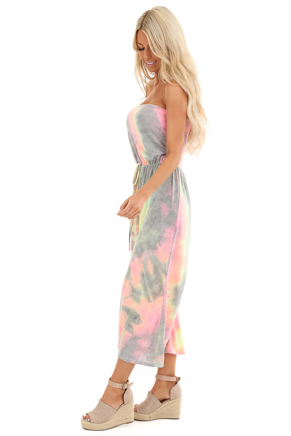 Grey and Neon Multicolor Tube Top Jumpsuit side full body