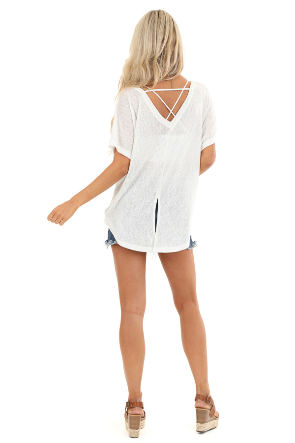 Daisy White V Neck Short Sleeve Top with Pocket Detail back full body