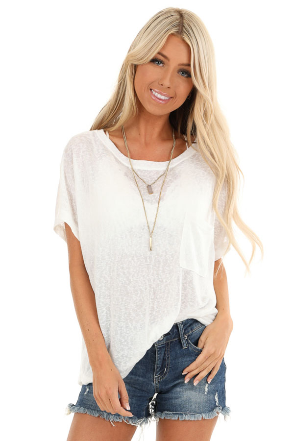 Daisy White V Neck Short Sleeve Top with Pocket Detail front close up