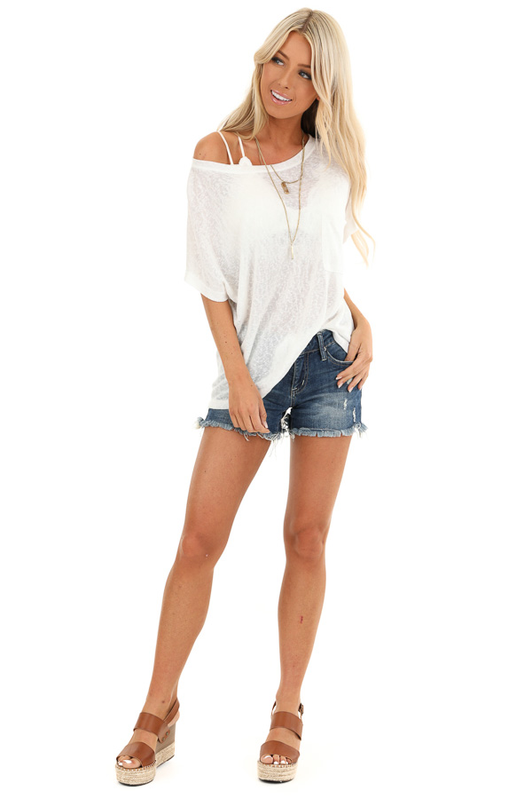 Daisy White V Neck Short Sleeve Top with Pocket Detail front full body