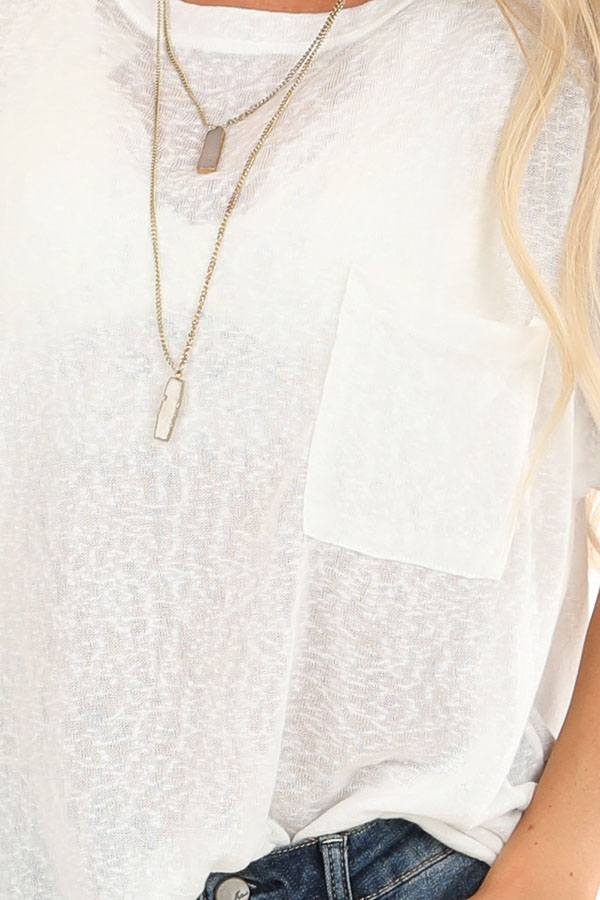 Daisy White V Neck Short Sleeve Top with Pocket Detail detail