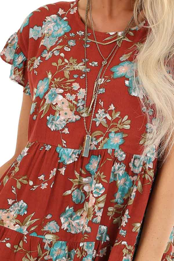 Rust Floral Print Tiered Peasant Dress with Ruffle Sleeves detail