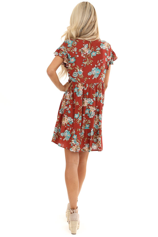 Rust Floral Print Tiered Peasant Dress with Ruffle Sleeves back full body