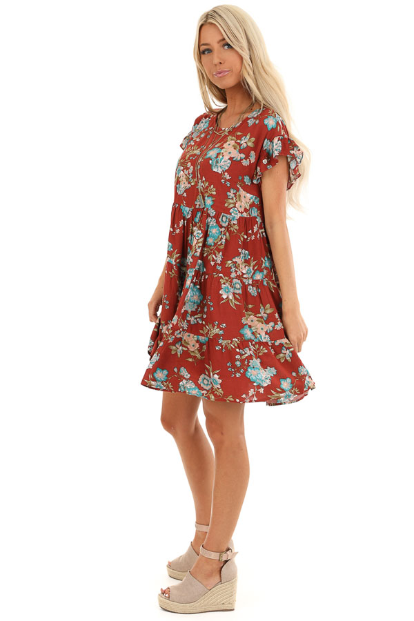 Rust Floral Print Tiered Peasant Dress with Ruffle Sleeves side full body