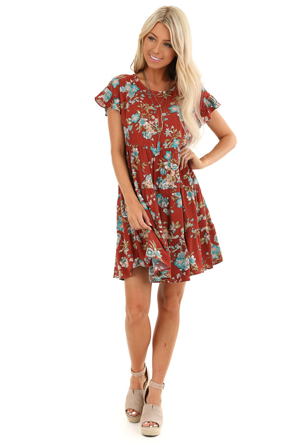 Rust Floral Print Tiered Peasant Dress with Ruffle Sleeves front full body