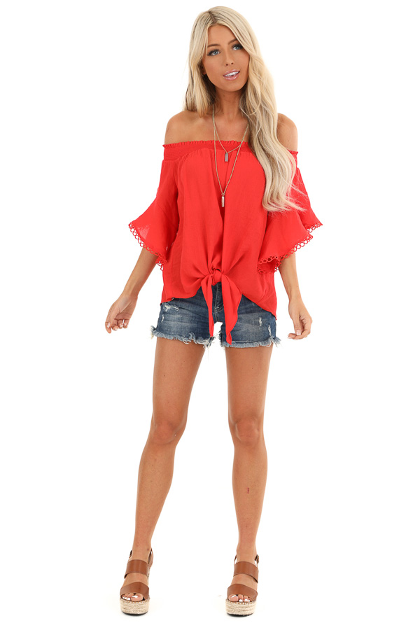 Ruby Red Off Shoulder Top with Ruffle Trumpet Sleeves front full body