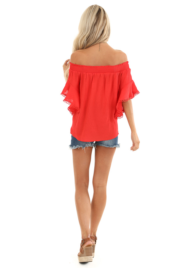Ruby Red Off Shoulder Top with Ruffle Trumpet Sleeves back full body