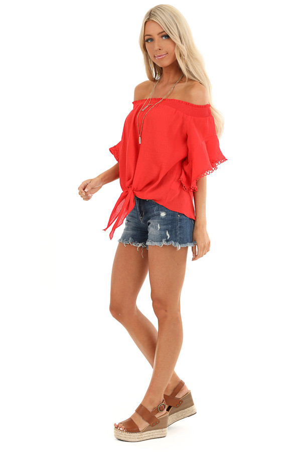 Ruby Red Off Shoulder Top with Ruffle Trumpet Sleeves side full body