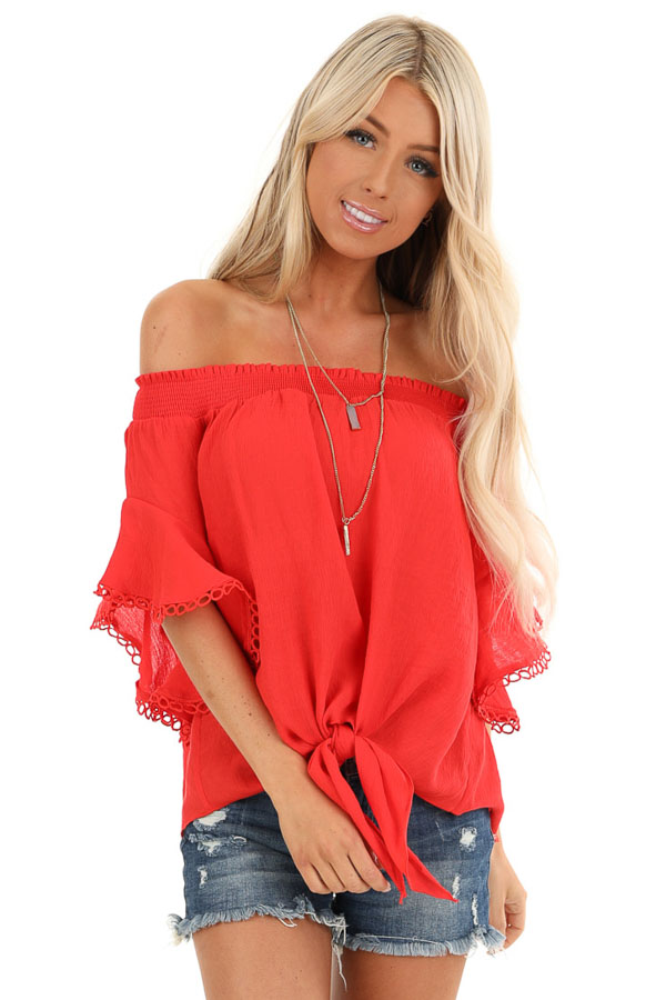 Ruby Red Off Shoulder Top with Ruffle Trumpet Sleeves front close up