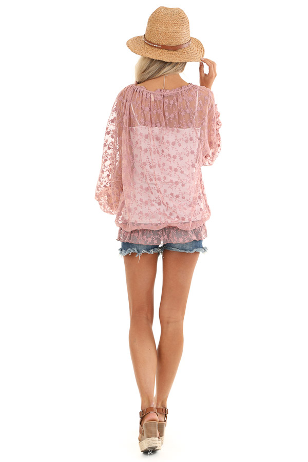 Mauve Sheer Floral Lace Long Sleeve Top with Tassel Tie back full body