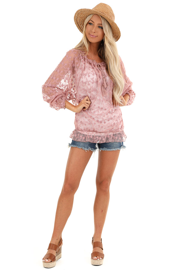 Mauve Sheer Floral Lace Long Sleeve Top with Tassel Tie front full body