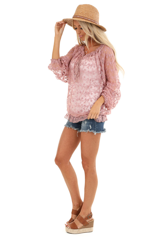 Mauve Sheer Floral Lace Long Sleeve Top with Tassel Tie side full body