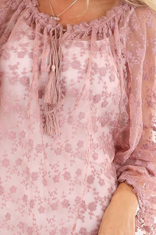 Mauve Sheer Floral Lace Long Sleeve Top with Tassel Tie detail