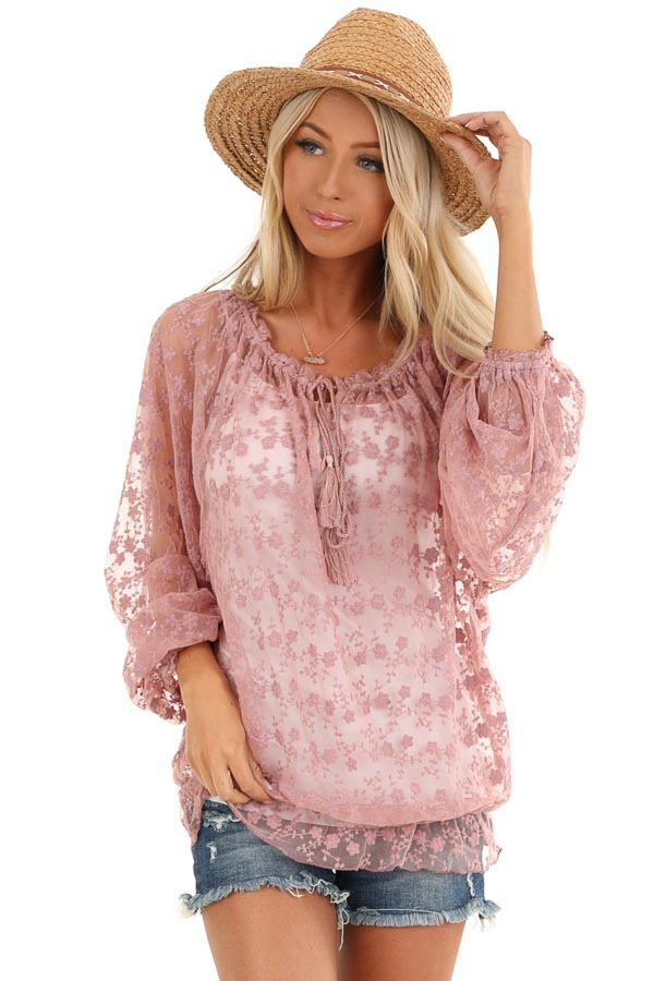 Mauve Sheer Floral Lace Long Sleeve Top with Tassel Tie front close up