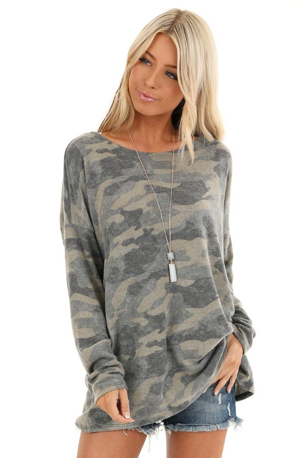 Faded Olive Camo Print Long Sleeve Top with Open Back Twist front close up