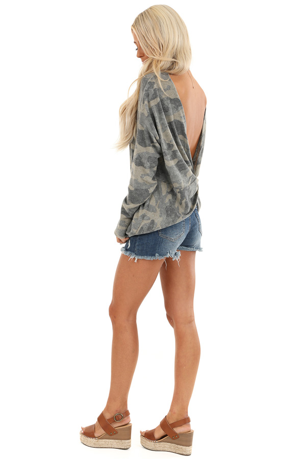 Faded Olive Camo Print Long Sleeve Top with Open Back Twist side full body