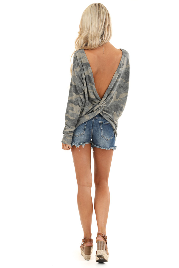 Faded Olive Camo Print Long Sleeve Top with Open Back Twist back full body