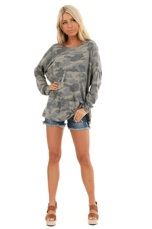 Faded Olive Camo Print Long Sleeve Top with Open Back Twist front full body