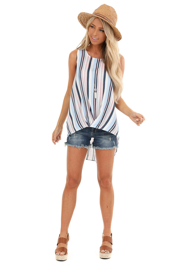 Multi Color Striped Tank Top with Gathered High Low Hemline front full body