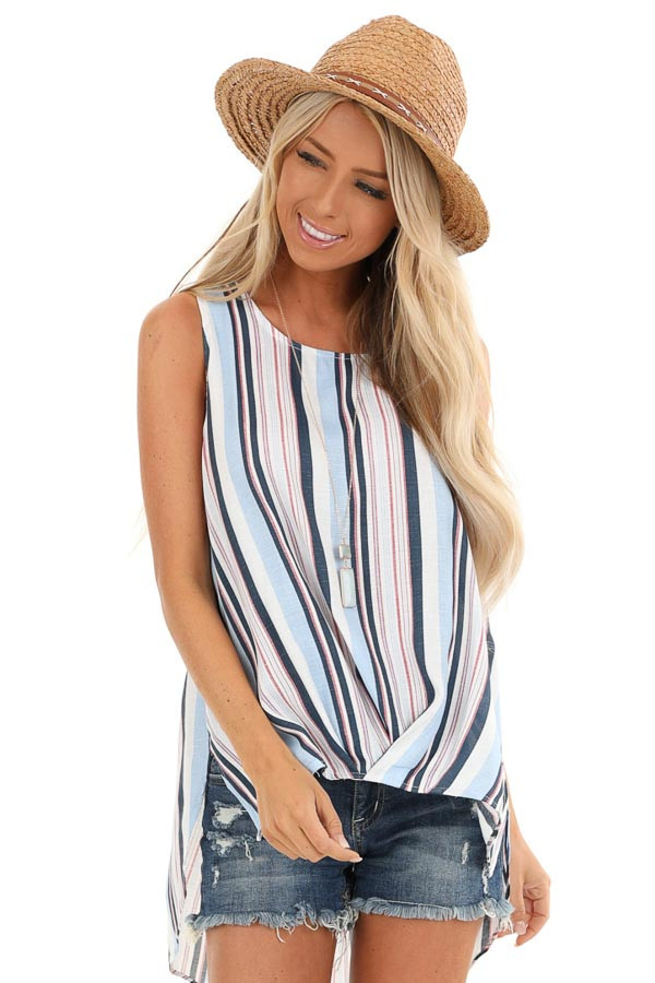 Multi Color Striped Tank Top with Gathered High Low Hemline front close up